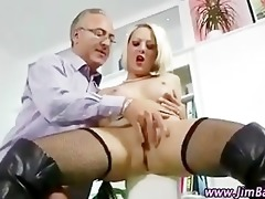 posh blonde in stockings gets sexy