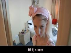 horny hotel maid bonks an oldman customer