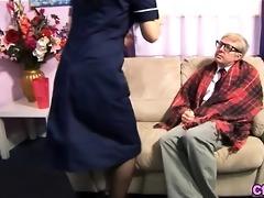 euro fetish nurse strokes old penis