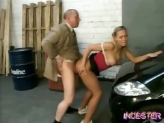 dad drilled hot daughter in garage