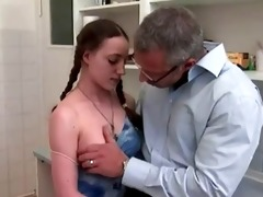 young girl gazoo screwed in kitchen by mature