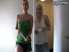 sister and golden-haired busting you jacking off