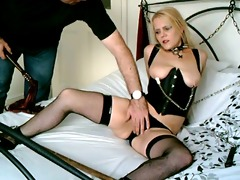 british golden-haired sub wench chained up and