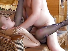 young golden-haired in pantyhose acquires slammed