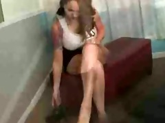 step sister jerking off hard cock with hose