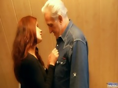 redhead slutty chick awards generous old man with