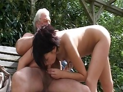 old gray senior is banging a hot youthful chick