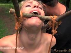allie james suffers in outdoor servitude