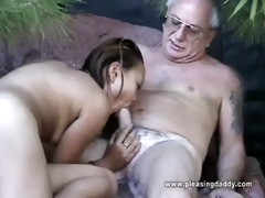 uncle jesse receives his cock sucked by asian slut