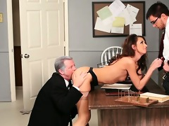 gal taking cock from the one and the other ends
