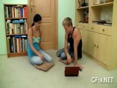 agreeable legal age teenager girl stands doggy