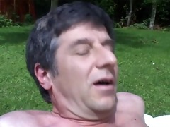 fucking a hottie with big tits in my garden
