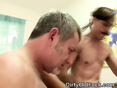 two obscene old dudes pound away on pretty blonde