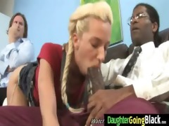 youthful daughter gets pounded by large dark