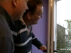 2 old guys shave a youthful pussy