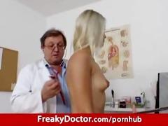 awesome blond uma zex harassed by old gyno medic