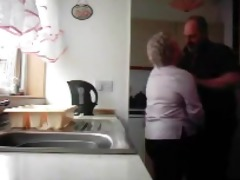 grandma and older man fucking in the kitchen