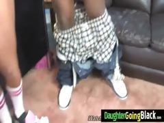 juvenile daughter gets pounded by large black rod
